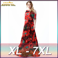 Adogirl XL 7XL Large Plus Size Women S Maxi Long Fashion Green And Red Mask Print