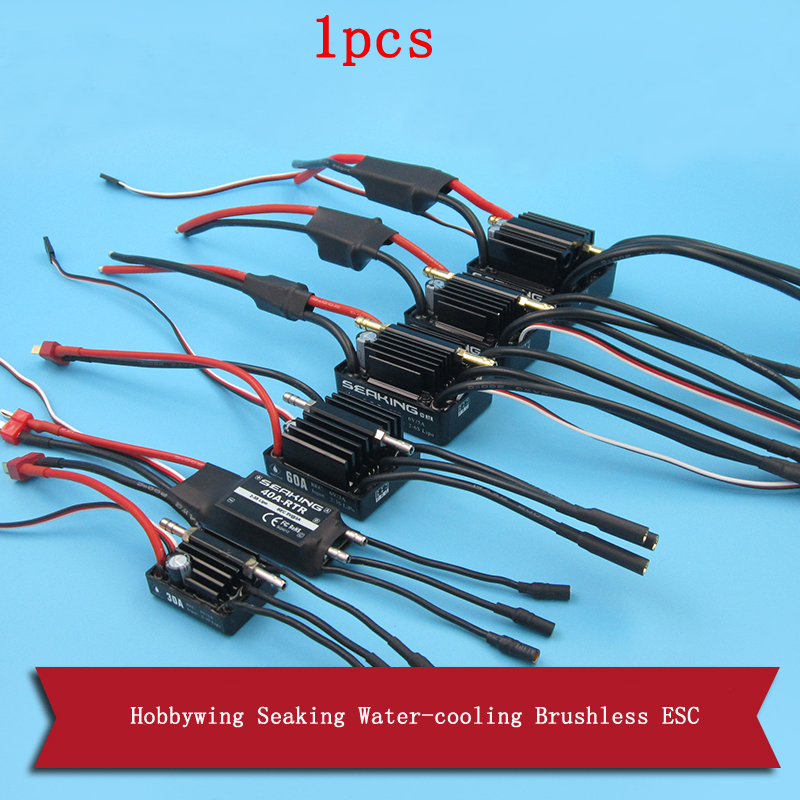 1pcs Hobbywing Seaking Water cooling Brushless ESC 30A 40A 60A 90A 120A 180A Dual way Bidirectional ESC XT60/T Plug for RC Boat