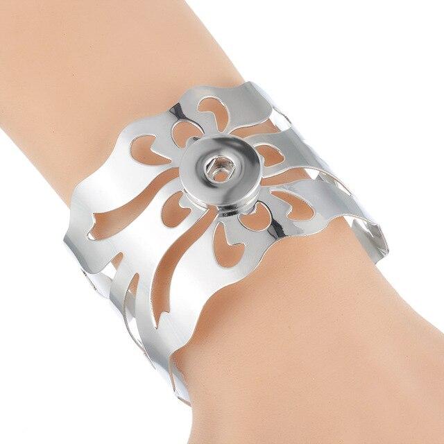 Bracelets fille argent plaqué Bracelet blanc maille Bracelets femmes Snap Bracelet bijoux Fit 18mm artisanat boutons pression fête Festival