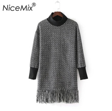NiceMix 2018 Winter Thick Sweater Dress Women Tassel Knitted Sweaters Pullover Female Elegant Casual Cotton Plaid Dress Femme