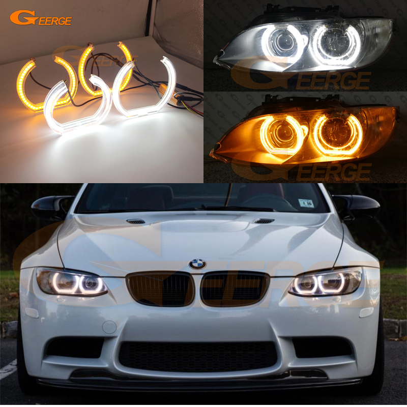 For BMW 3 Series E90 E92 E93 M3 Coupe cabriolet 2007-2013 DTM Style LED Angel Eye Kit Dual White Amber switchback велосипед mongoose switchback sport 2013