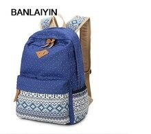 Корейский печати холст рюкзак женщины школьные сумки для девочек-подростков милые рюкзак старинные ноутбук рюкзаки женские