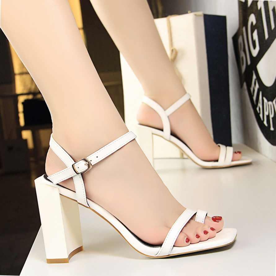 edfb276f563 ... 2019 Elegant Women Designer Summer White High Heels Casual Block Heels  Sandals Lady Open Toe Female ...