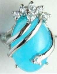 Красивое и очаровательное светло-синее нефритовое кольцо (#7 8 9)