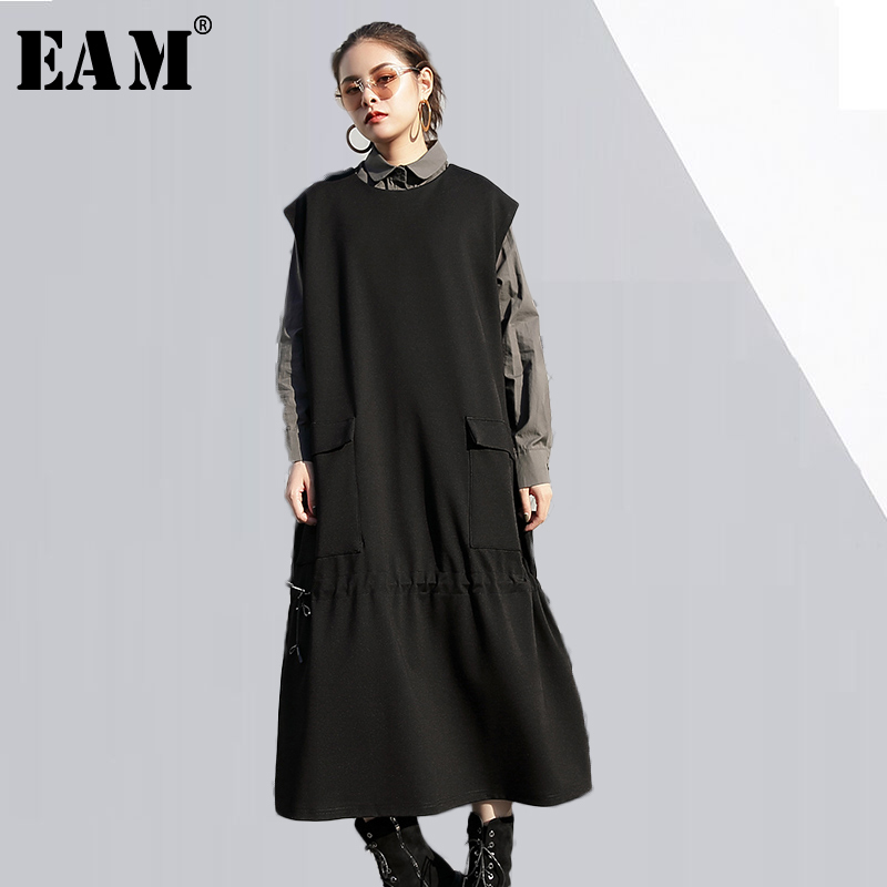 [EAM] 2018 new spring winter round neck sleevless solid color black army green shirt two piece dress women fashion tide JD98001