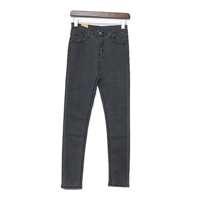 Venta caliente de Los Pantalones Vaqueros Mujer 2017 Mujeres Flacas pantalones Vaqueros Delgados Azul Marino Pantalones de Cintura Alta Moda Lápiz Largo Pantalones Casuales Feminina