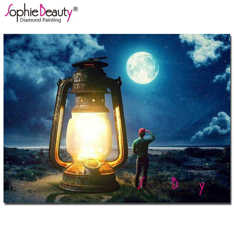 Софи красота вышивки крестом Луна diy алмазов картина полный горный хрусталь ручной работы мозаика комплект Аллах лампа вышивка дома искусств 19114