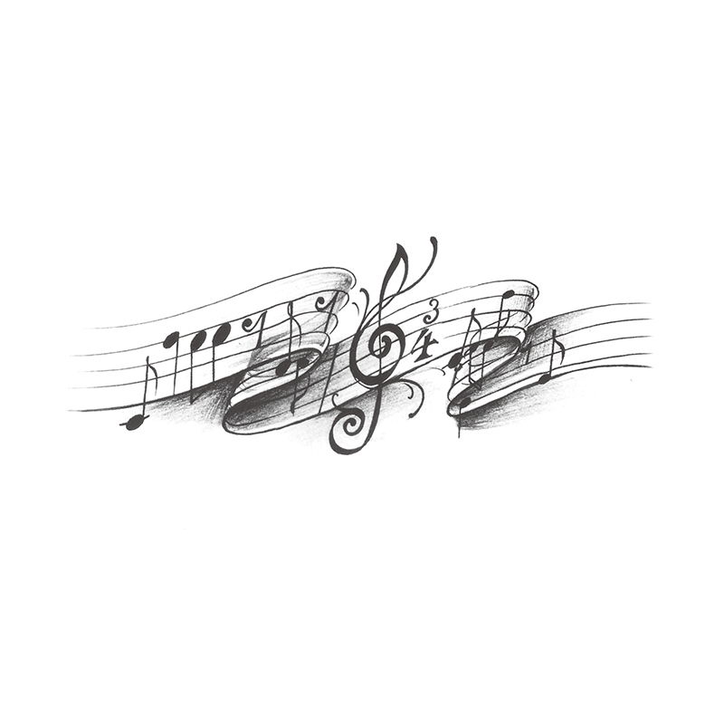 Waterproof Temporary Tattoo Stickers Cute Black Grey Music Notes Design Body Art Man Woman Makeup Tool in Temporary Tattoos from Beauty Health
