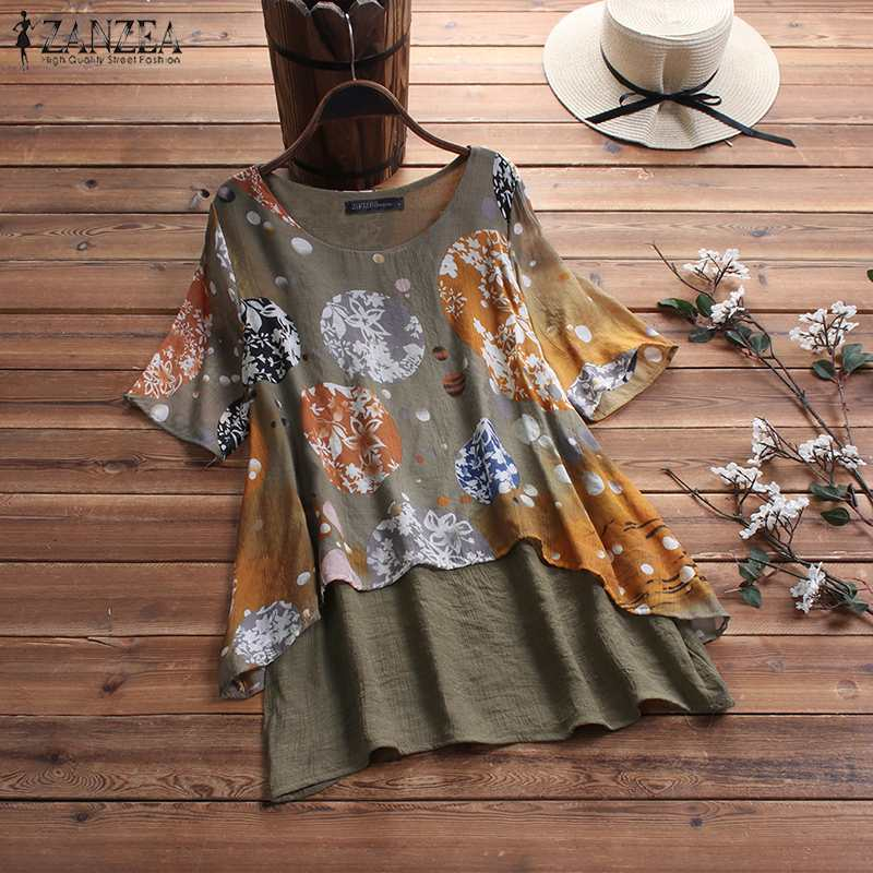 2019 ZANZEA Women Summer Short Sleeve   Shirt   Casual Pacthwork Vintage Floral Printed   Blouse   Tunic Tops Chemise Blusas Femininas