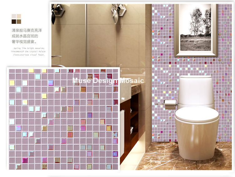 Iridescent Pink Crystal Glass Mosaic tiles Kitchen Backsplash ...
