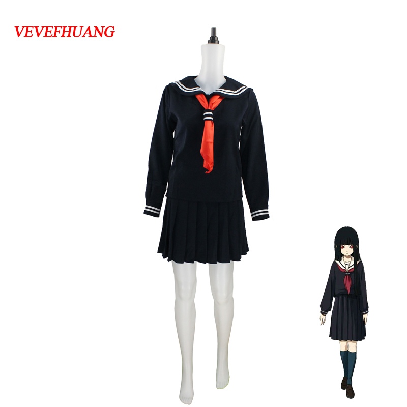 VEVEFHUANG Japanese/Korean Hell Girl Enma Ai Cosplay Costume School Uniforms JK Student Sailor Suit Top+Dress+Tie +Socks