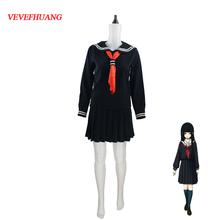 VEVEFHUANG Japanese Korean Hell Girl Enma Ai Cosplay Costume School Uniforms JK Student Sailor Suit Top