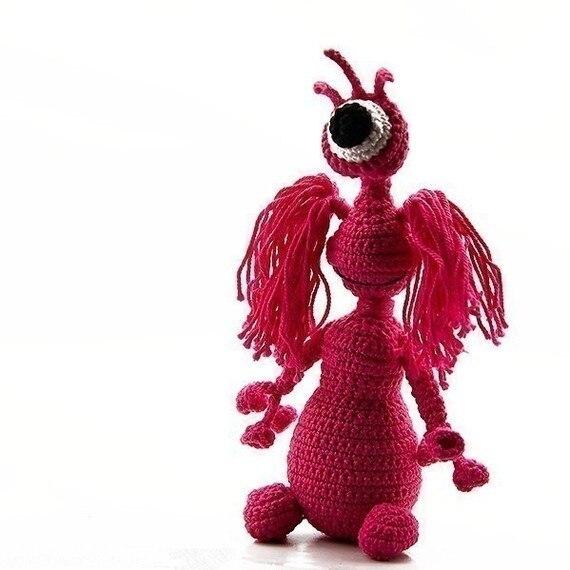 Pig Stuffed Animal,  Crochet Toy Rattle
