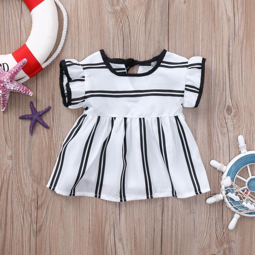 MUQGEW Childrens Clothes Toddler Infant Baby Girls Tops Bloues Striped Short Sleeve Tops Clothing Summer 2018