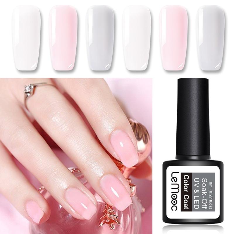 LEMOOC 8ml Opal Jelly Nail Gel Polish For Summer Semi-transparent White Varnish Soak Off Manicure Nail Art UV Gel Lacquer