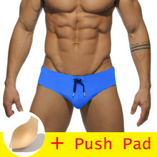a5fbe0c8b1 17 Styles Hot Sell Swimwear Men Brief With Pad Low Waist Sexy Swimsuit  Waterproof Swimming Trunks