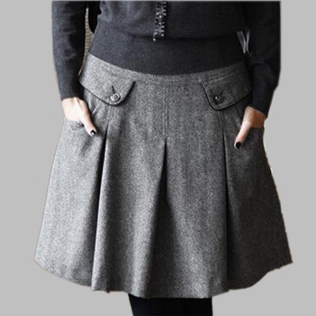 b79666d7006 Woolen Skirts Spring Autumn Winter Women Casual Slim Woolen Pleated Skirts  With Pocket Plus Size High Quality Woolen Skirt S-7XL
