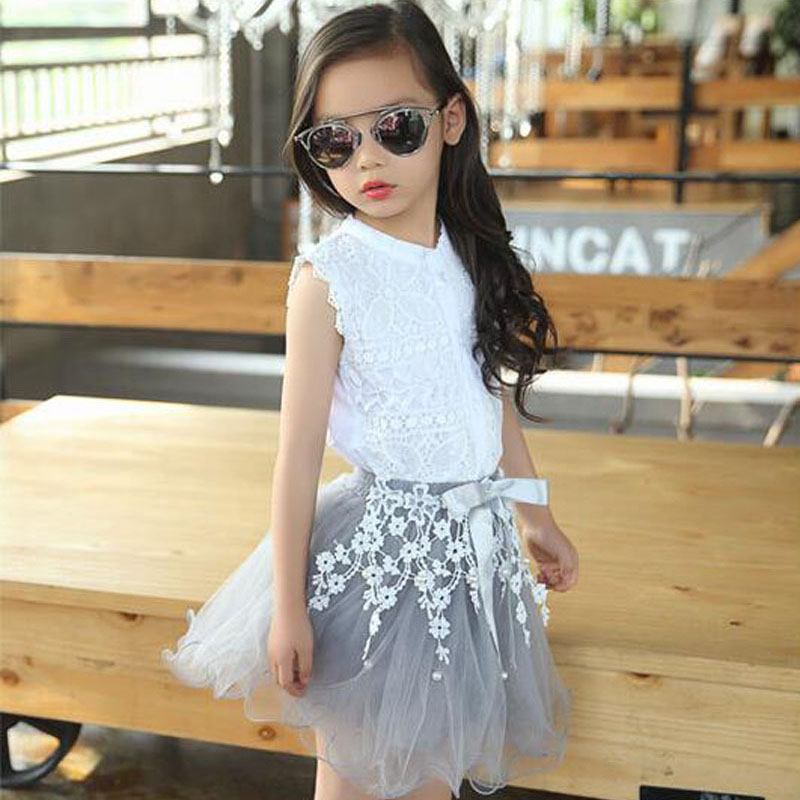 2016 Summer Girls Clothing Sets Lovely Lace Shirt+Flower Tutu Skirt 2pcs Set Brand Organza Kids Princess Suit Clothes For Girl two pieces kid girl set tutu summer flower cotton t shirt tutu skirt sets children outfits dance party prom clothing