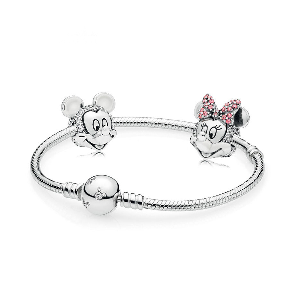 NEW 100% 925 Sterling Silver New Cartoon Fairy Tale Safety Clip Bracelet Set Suitable for Winter Women's Gift Jewelry RAU0542