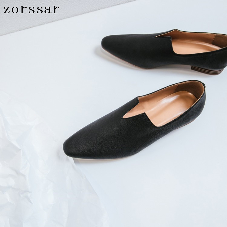 Zorssar Spring New Ladies Loafers Flat Genuine Leather Casual Women Shoes Comfortable Pointed Toe Flat Shoes Ladies Footwear