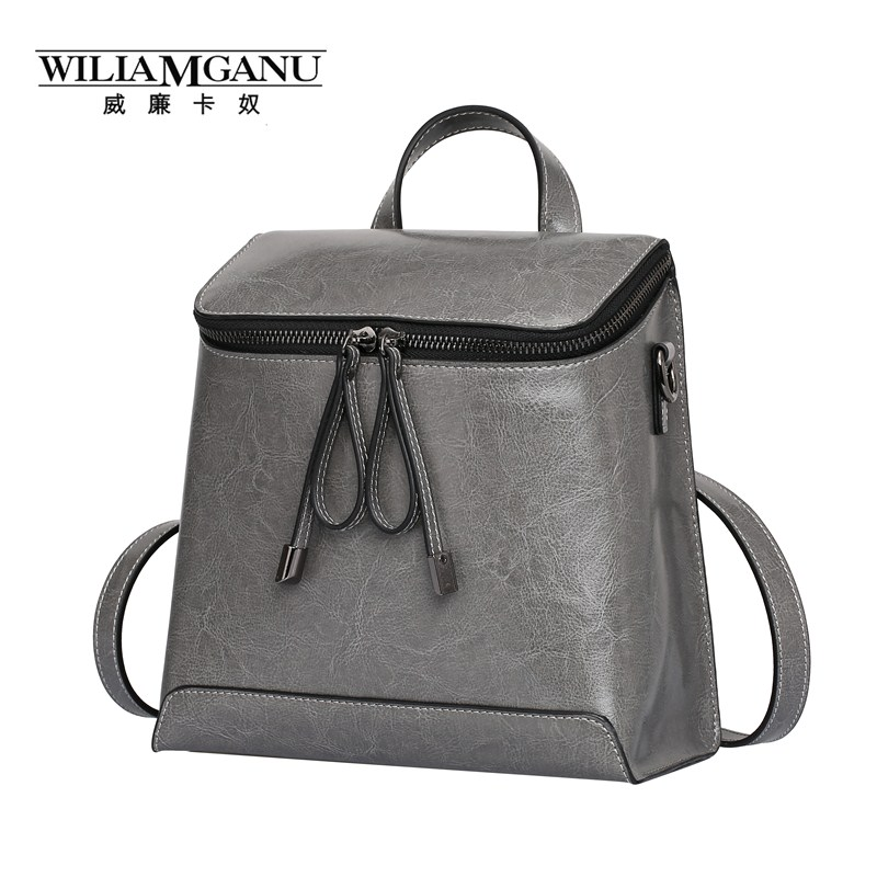 WILIAMGANU Vintage Backpack women Top <font><b>Real</b></font> Cow Genuine Leather Backpacks For Teenage Girls/Female Small Travel Bags