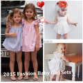 Retail Abby Fish 2015 Summer Hot New Brand Baby Girl Lace&Striped Cute Sets,6m-4y Baby Kids Lace Princess Ruffles Tops+ Shorts