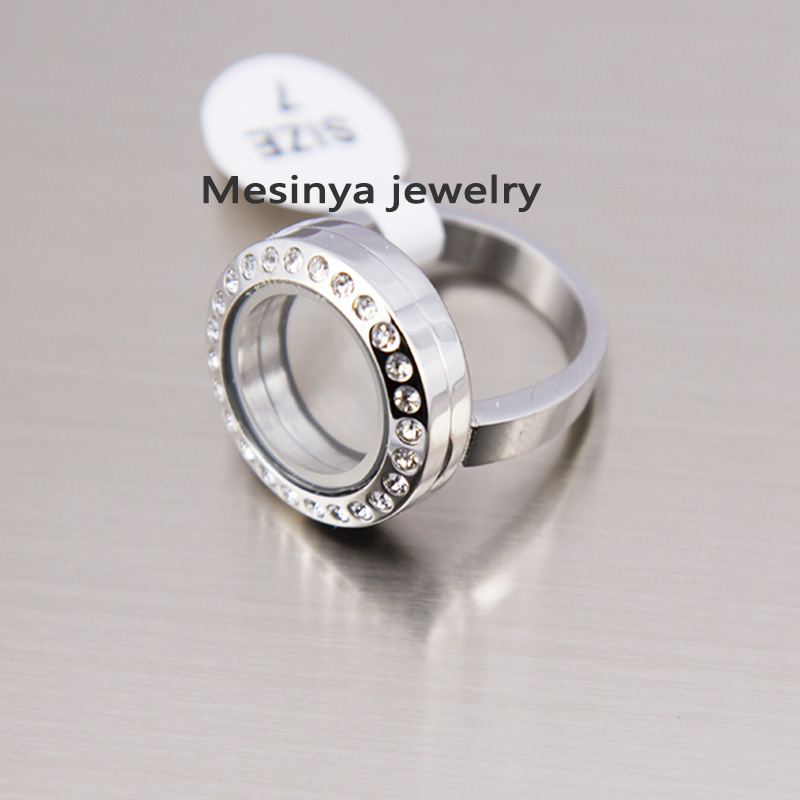 10pcs US size 6 7 8 9 10 Czech Crystal Magnet Stainless Steel Glass Locket Ring