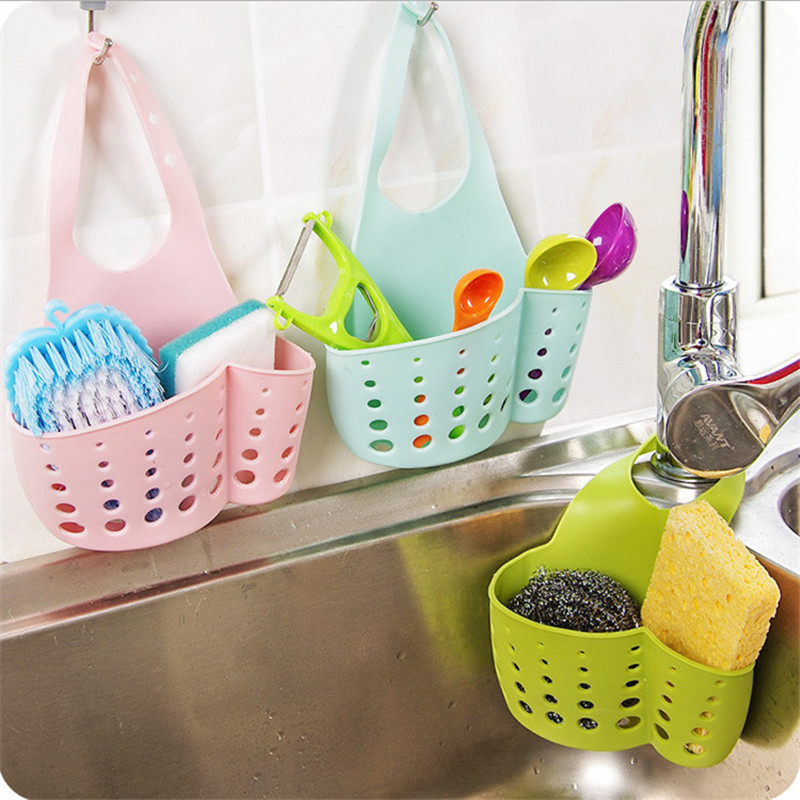 kitchen hanging drain basket Organizer Adjustable Buckle Sink Holder Wall Shelf Gadget Storage Bag Shelving Rack Faucet Storage