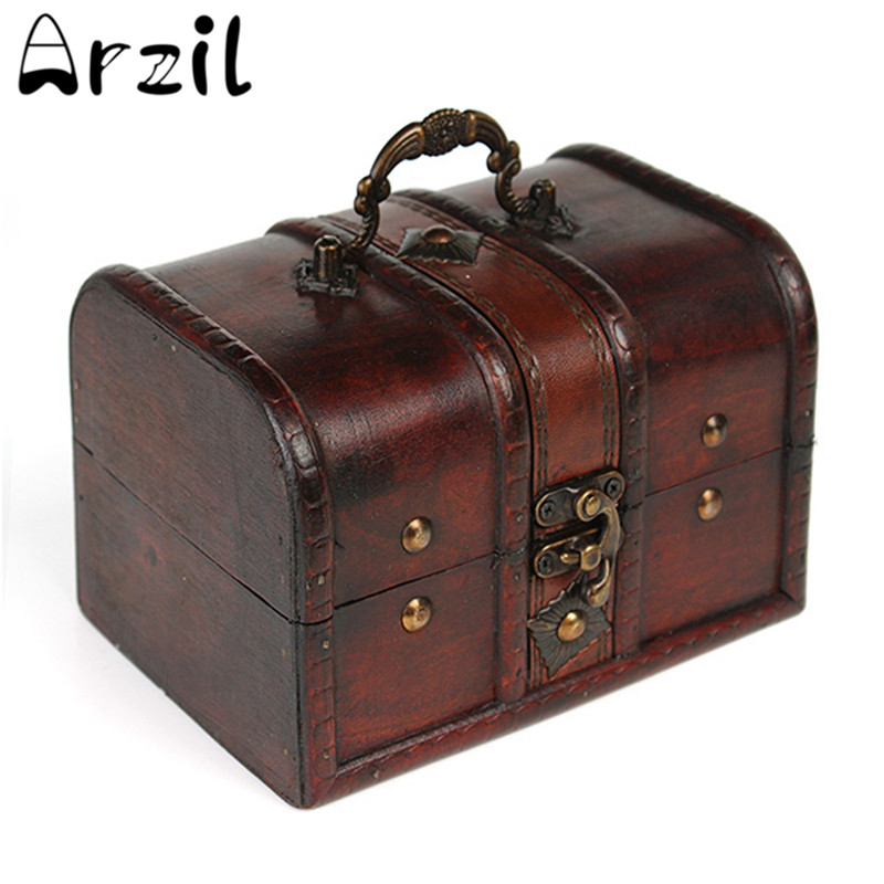 vintage jewelry storage box metal lock wooden organizer case wood boxes antique retro jewellery candy container - Metal Storage Containers