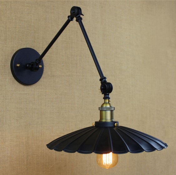 America Retro Vintage Wall Lamp For Dinning Room Loft Industrial Wall Sconce Stair Light With Long Arm Lampara Pared new vintage industrial wall lamps stair dinning room loft black iron wall light home decor sconce e27 led bulb gift 110 240v