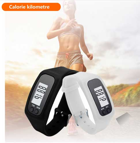 Casual Digital LCD Pedometer run step walking distance calorie counter watch bracelet men women sports Led watches 10 colors
