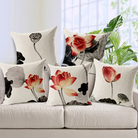 45 45 Cm Chinese Ink Painting Lotus Cotton And Linen Pillow Car Annatto Furniture Sofa Cushion