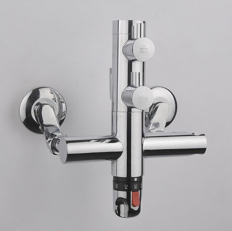 Bathroom faucet shower water mixer tap, Copper Dual handle thermostatic faucet chrome, Brass thermostatic faucet mixing valve chrome finish dual handles thermostatic valve mixer tap wall mounted shower tap
