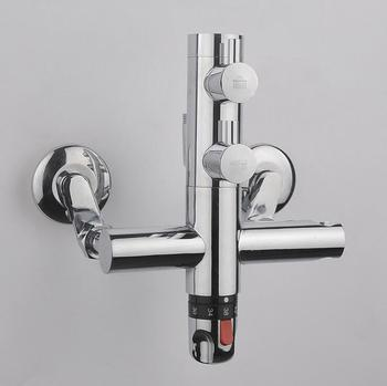 Bathroom faucet shower water mixer tap, Copper Dual handle thermostatic faucet chrome, Brass thermostatic faucet mixing valve