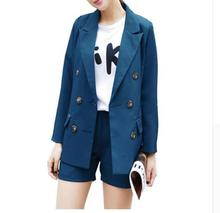 2018 Professional Business Women Suits Runway Formal Womens Short Pants and Double Breasted Jacket Blazer Work Wear Suit