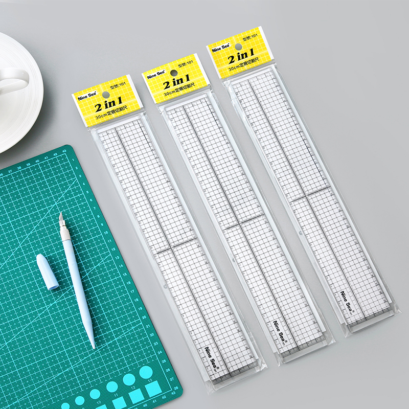 MIRUI 30cm Fixed Ruler Resin Models 2 In1 Cutting Regulation Ruler Patchwork Measuring Ruler Alloy Edge Model Tool Accessory