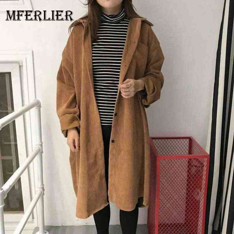 9e9cd8ca8eb New Plus Size 2017 Women Trench Coat Loose Fat Younger Sister Corduroy  Coats Brown Black 8268. US  18.47. 5.0 (2). 2 Orders. Mferlier Trench Coat  Women Turn ...