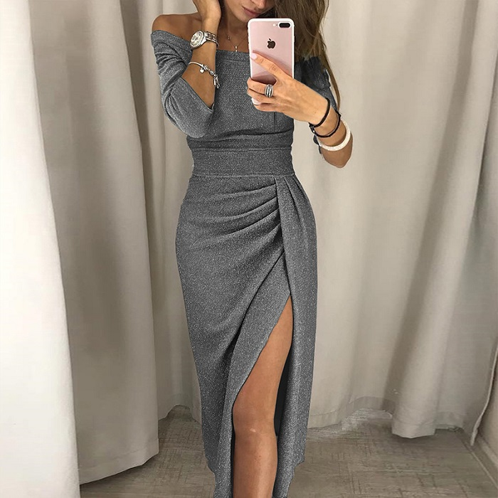 VIEUNSTA Sexy Off Shoulder Party Dress Women High Slit Peplum Bodycon Dress Autumn Three Quarter Sleeve Bright Silk Shiny Dress 5