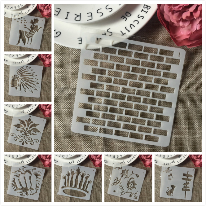 8Pcs/Set 13cm Brick Lady Cat Sign DIY Layering Stencils Painting Scrapbook Coloring Embossing Album Decorative Card Template