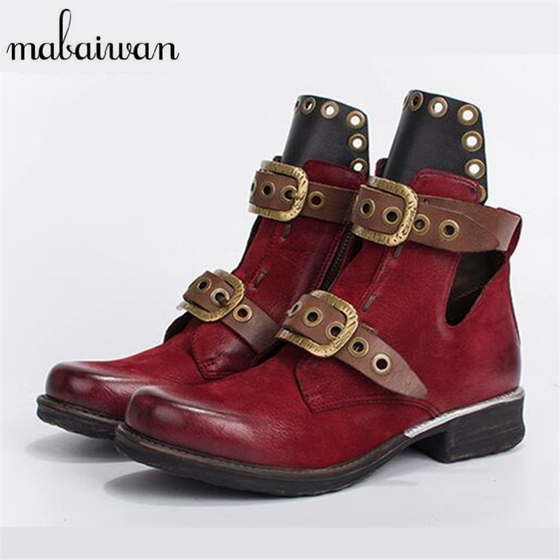 Mabaiwan Retro Ankle Boots for Women Belt Straps Short Autumn Boots Genuine Leather Platform Rubber Shoes Woman Martin Boot mabaiwan handmade rivets military cowboy boots mid calf genuine leather women motorcycle boots vintage buckle straps shoes woman
