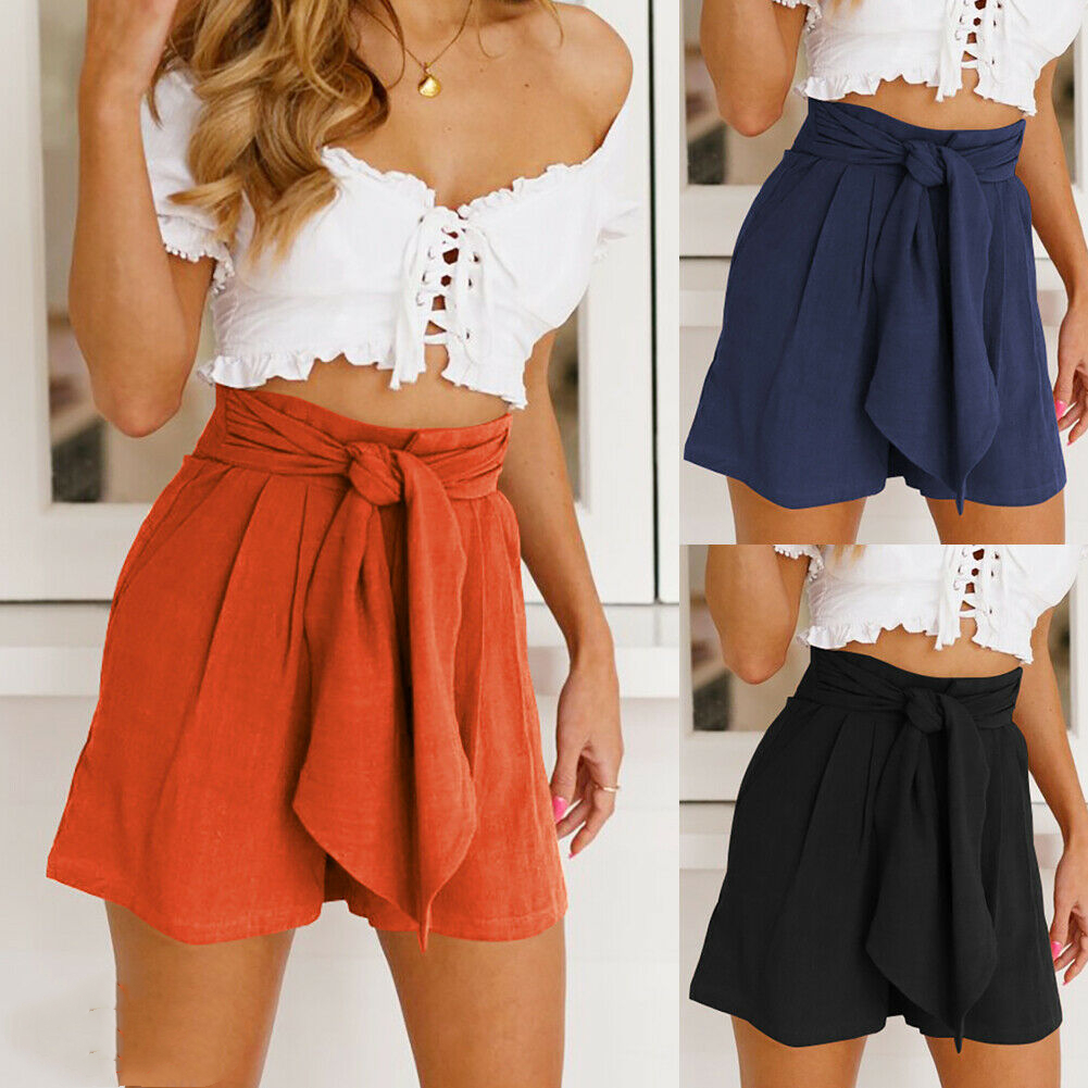 New Women High Waist Tie Belt Dungaree Shorts Fashion Ladies Summer Beach Solid Casual Loose Trousers Shorts Bottoms