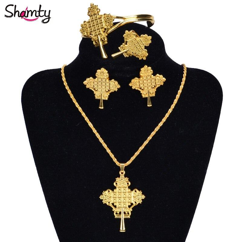 Shamty Trendy African Pure Gold Color Sets Jewelry Ethiopian Bridal Sets Nigeria Sudan Eritrea Kenya Habasha Style A30018