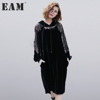 EAM 2017 New Autumn Winter Hooded Long Sleeve Solid Color Black Lace Split Joint Loose