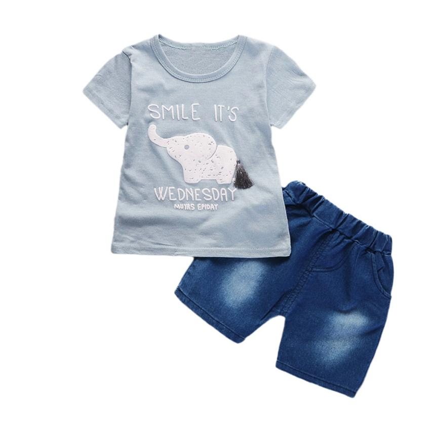 Infants, boys, and girls, elephants, short-sleeved T-shirt + denim shorts two-piece suit casual fashion toddler cute summer sets