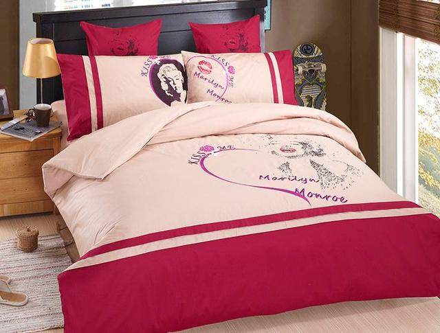 Pink Girls marilyn monroe comforter Cover Embroidery bedding set ...