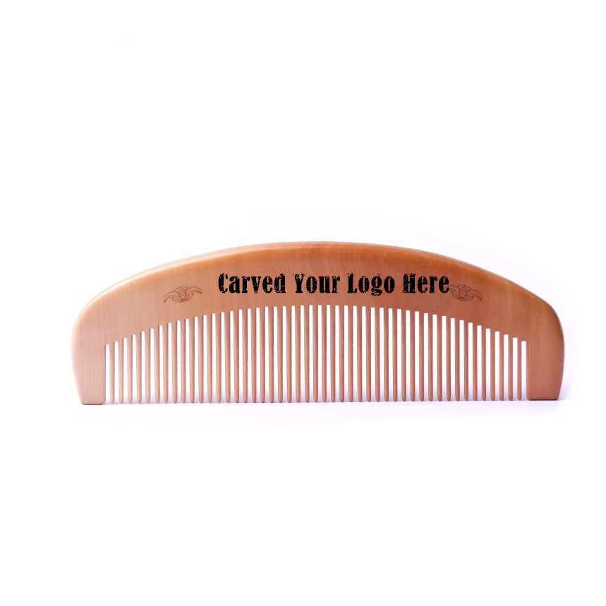 100pcs/lot Wooden Combs Custom Your Logo Handmade Straight Peach Wood Comb Hair Brushes Styling Tools Size:16.8*5.3*1Cm L-DH72