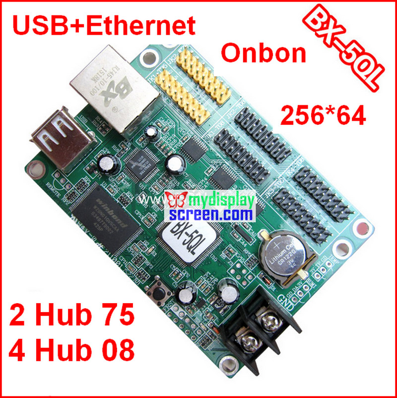 Onbon bx-5ql, usb controller, 2 hub75, 4 hub08,support 256*65 pixel,  gray grade async controller, cheapest full color control