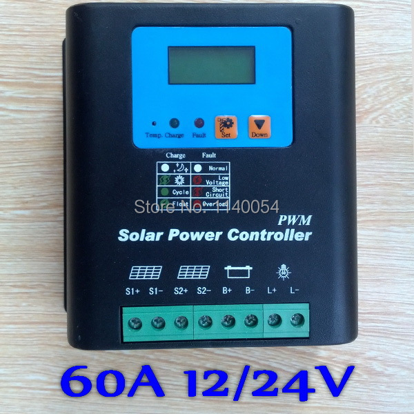 60A 12V/24V Auto-work Solar Charge Controller, 12V 24V Solar Battery Controller 60A Home use 60a 12v 24v 48v solar charge controller engineering premium quality com rs232 with pc