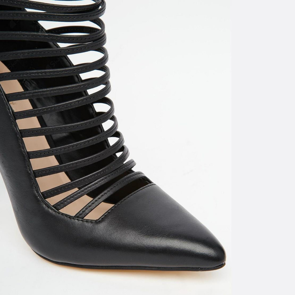 8518c702115 womoen black leather pointed toe thin strappy high heel shoes back zipper  patchwork cage pumps plus size US10-in Women s Pumps from Shoes on  Aliexpress.com ...