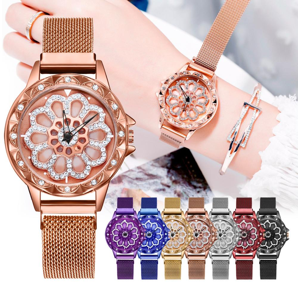 relogio feminino 2019 New Women Bracelet Watch Women's Rotating Magnetic Lucky Watch Fashion Ladies Crystal Quartz Wrist Watches(China)